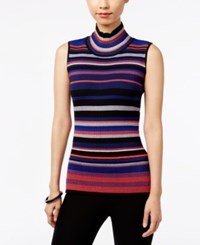Eci Sleeveless Mock Turtleneck Sweater Blue Orange Multi