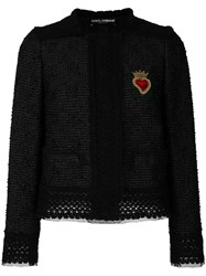 Dolce And Gabbana Sacred Heart Tweed Jacket Black