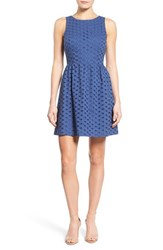 Women's Kensie 'Daisy Dot' Eyelet Cotton Fit And Flare Dress