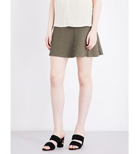 Sandro High Rise A Line Knitted Skirt Olive Green