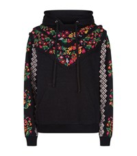 Needle And Thread Cross Stitch Floral Hoodie Black