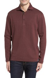 Thaddeus Men's Reiner Herringbone Long Sleeve Polo Cinnabar