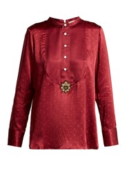 Figue Milagro Polka Dot Silk Satin Shirt Burgundy