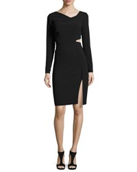 Long Sleeve Cutout Sheath Dress Black