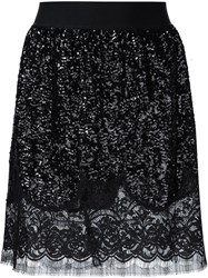 Faith Connexion Sequin Ruffle Lace Skirt Black