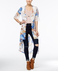 American Rag Printed Crochet Trim High Low Kimono Only At Macy's Egret Combo