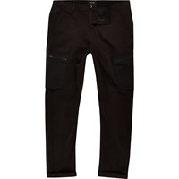 River Island Mens Black Skinny Fit Cargo Trousers
