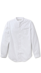 Shades Of Grey Band Collar Shirt White Oxford