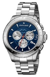 Roberto Cavalli Men's By Franck Muller Chronograph Bracelet Watch 43Mm Silver Navy Guilloche Silver
