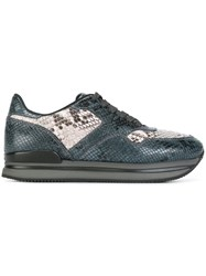 Hogan Snakeskin Effect Sneakers Grey