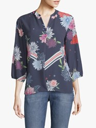 Betty And Co. Floral Print Blouse Blue