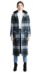 Boutique Moschino Plaid Coat Green Blue