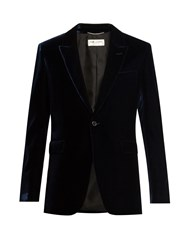 Saint Laurent Peak Lapel Velvet Blazer Navy