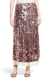 Tory Burch Women's Cove Sequin Maxi Skirt New Ivory Blush