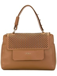 Furla Perforated Flap Tote Women Calf Leather One Size Brown