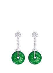 Lc Collection Diamond Jade 18K White Gold Disc Drop Earrings Metallic