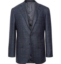 Thom Sweeney Storm Blue Slim Fit Checked Wool Silk And Cashmere Blend Blazer Storm Blue