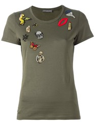 Alexander Mcqueen 'Obsession' Embroidered T Shirt Green