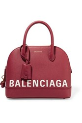 Balenciaga Ville Printed Textured Leather Tote Burgundy