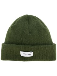 Soulland Ribbed Logo Beanie Wool Green