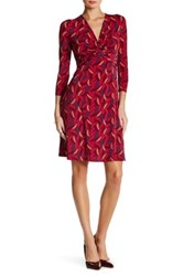 Anne Klein 3 4 Length Sleeve Printed Knot Front Dress Multi