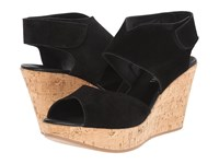 Cordani Rhonda Black Suede Cork Women's Wedge Shoes