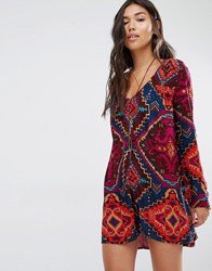 Billabong Dress With Long Sleeves And Button Front In Jazzy Print Multi