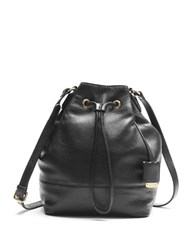 Kenneth Cole Nevins Street Leather Bucket Bag Black