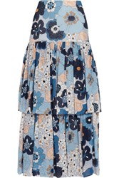 Chloe Floral Print Cotton Gaufre Maxi Skirt Blue
