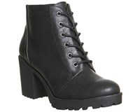 Office Leaderboard Chunky Lace Up Boots Black