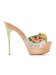 Gianmarco Lorenzi Fruit Embellished Platform Sandals Multicolour