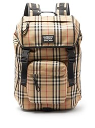 Burberry Rocky Vintage Check Canvas Backpack Beige