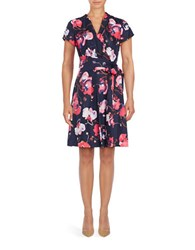 Ellen Tracy Short Sleeve Floral Wrap Dress