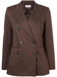 Alberto Biani Double Breasted Blazer Brown