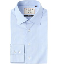 Thomas Pink Anders Checked Slim Fit Cotton Shirt Pale Blue White
