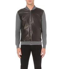 Salvatore Ferragamo Leather Front Knitted Bomber Jacket Black