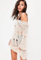 Missguided Cream Distressed Off The Shoulder Jumper Dress Grey
