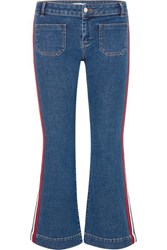Sonia Rykiel Cropped Striped Low Rise Flared Jeans Blue