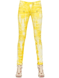 Balmain Tie Dye Stretch Denim Jeans Yellow White