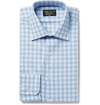 Emma Willis Blue Slim Fit Gingham Brushed Cotton Shirt