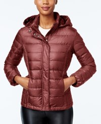 32 Degrees Packable Hooded Puffer Coat Only At Macy's Red Robin Shiny Melange