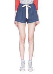 Bassike Contrast Stitch Beach Shorts Blue
