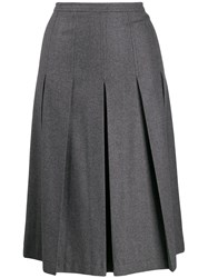 Red Valentino Pleated Midi Skirt Grey