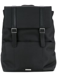 Cerruti 1881 Top Flap Backpack Men Calf Leather Nylon One Size Black
