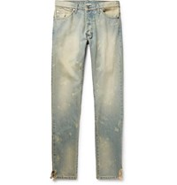 Rhude Skinny Fit Distressed Denim Jeans Light Denim