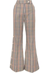 Awake A.W.A.K.E. Checked Cotton Blend Twill Flared Pants Green