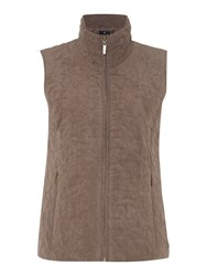 Tigi Leaf Quilt Gilet Brown