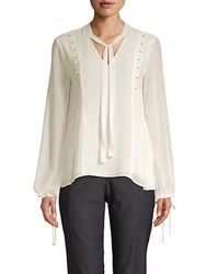 Ellen Tracy Beaded Long Sleeve Top Cream