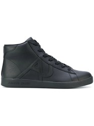 Armani Jeans Hi Top Lace Up Sneakers Polyamide Synthetic Resin Rubber Black