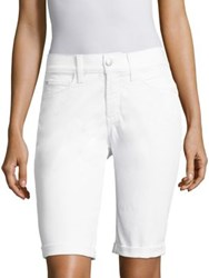 Nydj Cotton Blend Solid Shorts Optic White